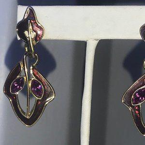 Trifari Signature Dangle Earrings Purple